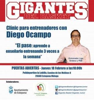 Estepona ya espera a Diego Ocampo. Clinic de Gigantes y la Federación Andaluza sobre el pase